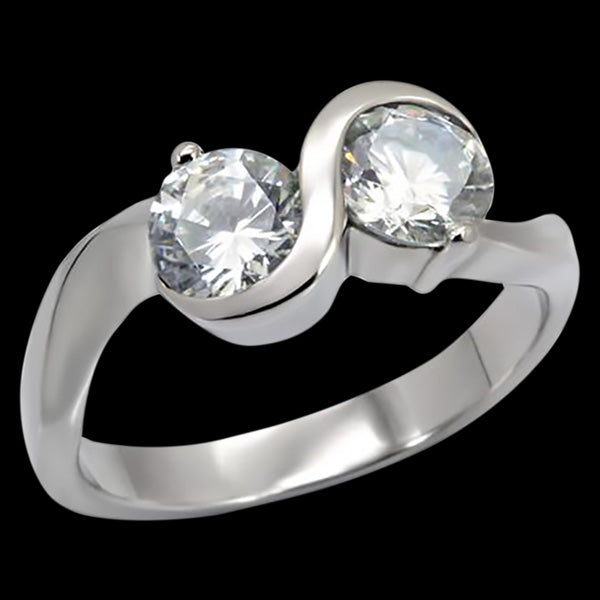 STAINLESS STEEL ETERNITY TWIN CZ RING