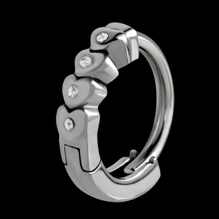 STAINLESS STEEL HUGGIE THREE HEARTS AND CZ BELLY  RING