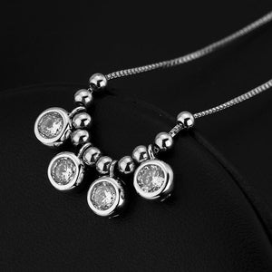STERLING SILVER 4 CIRCLES CZ NECKLACE