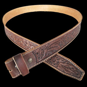 EMBOSSED LEATHER WESTERN BROWN BELT ,  - BUCKLESTOCK, The Cambridge Collection