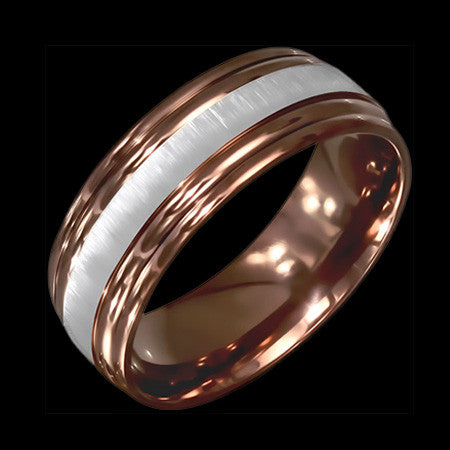 STAINLESS STEEL 8MM CAPPUCCINO IP MATTE BAND RING