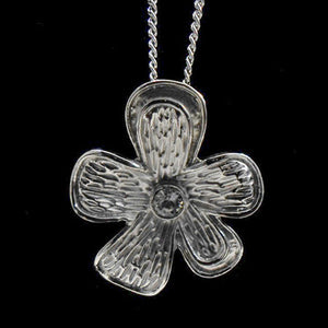 STAINLESS STEEL TEXTURED CZ FLOWER NECKLACE