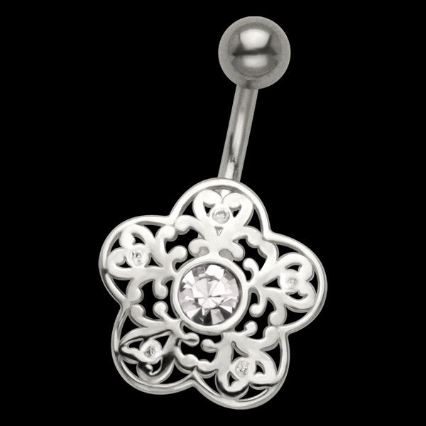 STERLING SILVER FILIGREE FLOWER BELLY BAR