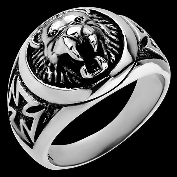 STAINLESS STEEL ROARING LION IRON CROSS RING