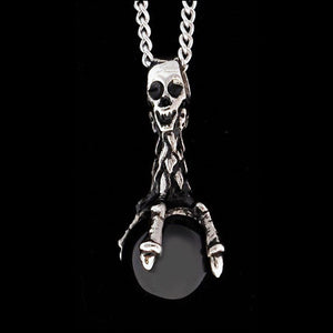 STAINLESS STEEL SKULL & CLAW BLACK ORB NECKLACE