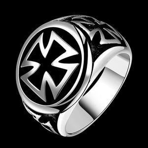 STAINLESS STEEL IRON CROSS SIGNET RING
