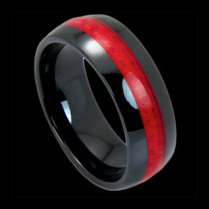 BLACK CERAMIC RED CARBON FIBRE INLAY RING
