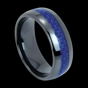 BLACK CERAMIC BLUE CARBON FIBRE INLAY RING