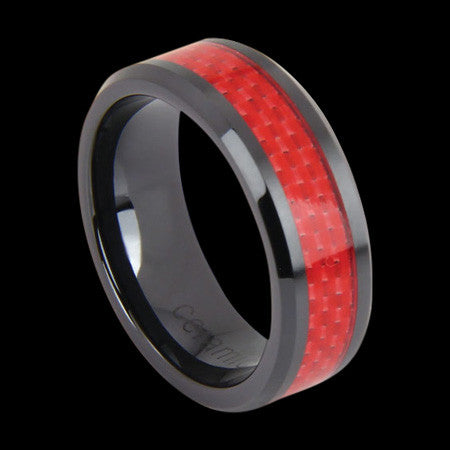 BLACK CERAMIC RED CARBON FIBRE INLAY BAND RING