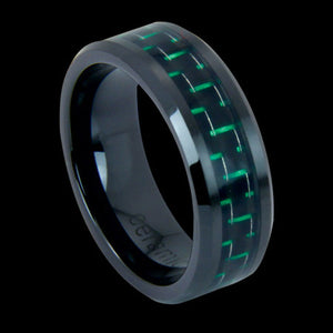 BLACK CERAMIC GREEN CARBON FIBRE INLAY RING