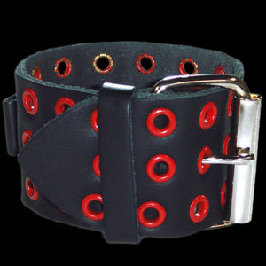 NEMESIS RED EYLET BLACK LEATHER WATCH BAND