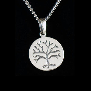 STERLING SILVER TREE OF LIFE DISC NECKLACE
