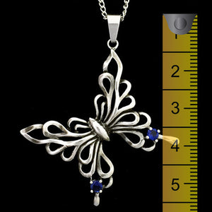 STAINLESS STEEL BLUE CZ FILIGREE BUTTERFLY NECKLACE - 2