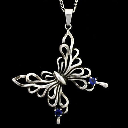 STAINLESS STEEL BLUE CZ FILIGREE BUTTERFLY NECKLACE
