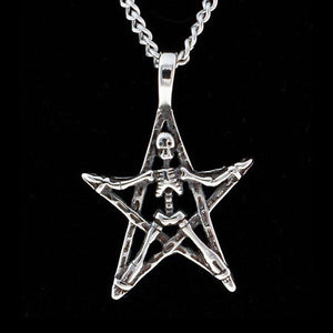 STAINLESS STEEL SKELETON & PENTAGRAM NECKLACE