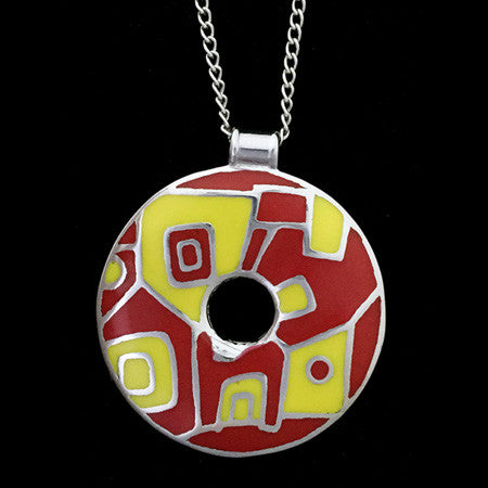 STAINLESS STEEL RED & YELLOW ENAMEL ABSTRACT DISC NECKLACE