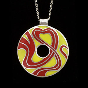 STAINLESS STEEL RED & YELLOW ENAMEL DISC NECKLACE