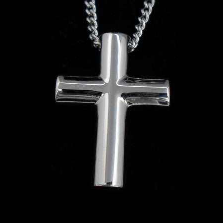 STAINLESS STEEL TUBULAR CROSS NECKLACE