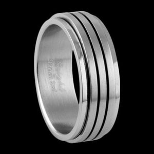 STAINLESS STEEL DUAL GROOVE SPINNER RING