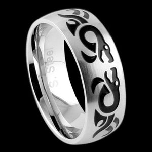 STAINLESS STEEL ENAMEL SERPENT RING