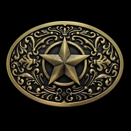 TEXAS STAR WESTERN BELT BUCKLE
