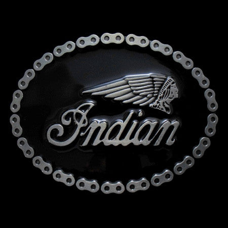 INDIAN CHAIN MOTORCYCLE BELT BUCKLE