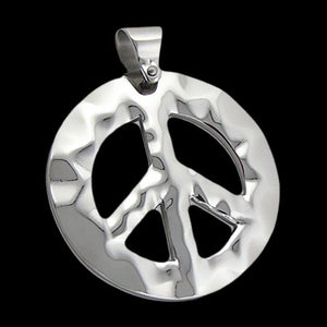 STAINLESS STEEL HAMMERED PEACE SYMBOL NECKLACE