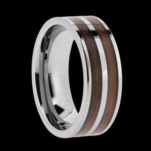 TUNGSTEN CARBIDE DUAL CHANNEL WOOD INLAY RING - 1