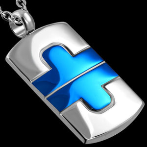 STAINLESS STEEL BLUE IP JIGSAW DOGTAG NECKLACE