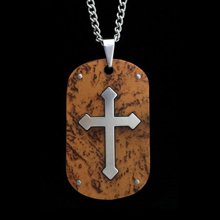 STAINLESS STEEL WOOD CROSS INLAY DOG TAG NECKLACE