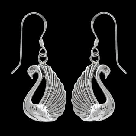 STERLING SILVER GRACEFUL SWAN EARRINGS