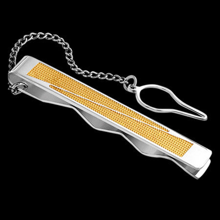 STAINLESS STEEL GOLD IP DIAGONAL MESH CHAIN TIE CLIP