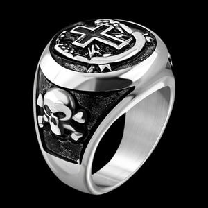 STAINLESS STEEL LATIN CROSS & SKULL CROSSBONES RING - SIDE VIEW