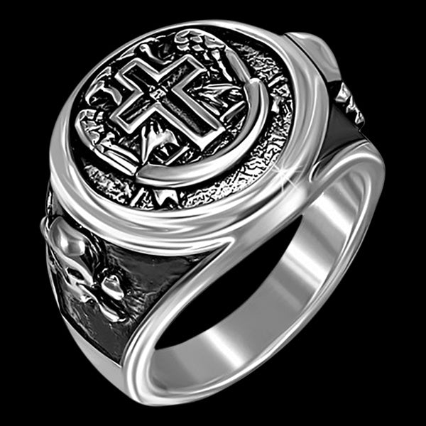 STAINLESS STEEL LATIN CROSS & SKULL CROSSBONES RING