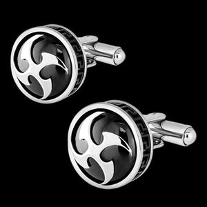 STAINLESS STEEL BLACK IP NINJA STARS CUFFLINKS
