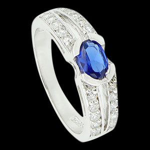 STERLING SILVER PAVED SPLIT SHANK BLUE CZ RING