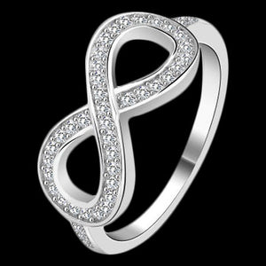 STERLING SILVER CZ PAVED INFINITY RING