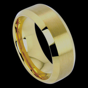 TUNGSTEN CARBIDE 8MM MATTE GOLD BAND RING