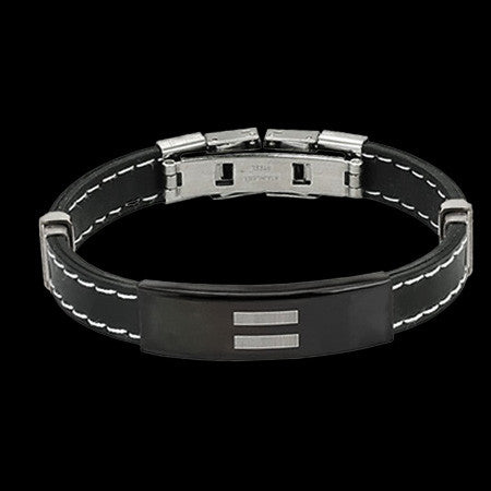 EQUAL SIGN ID PLATE STITCH ACCENT RUBBER STAINLESS STEEL BRACELET