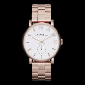 MARC JACOBS ROSE GOLD WHITE DIAL BAKER WATCH
