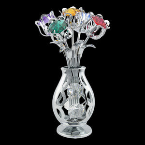 CRYSTOCRAFT SWAROVSKI FIVE TULIPS IN VASE