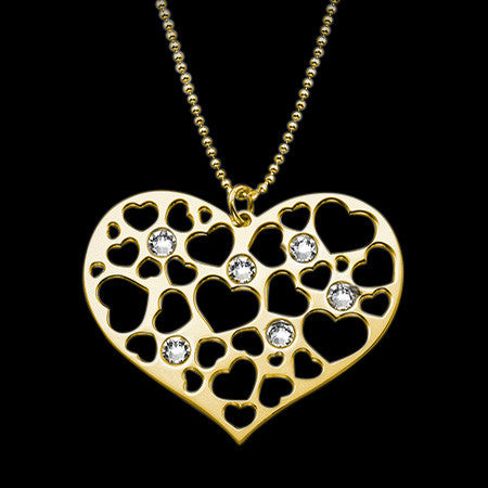 MY ONLY ONE 18K GP STERLING SILVER FILIGREE CZ HEART NECKLACE