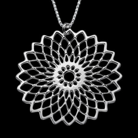 MY ONLY ONE FLOWER MANDALA STERLING SILVER NECKLACE