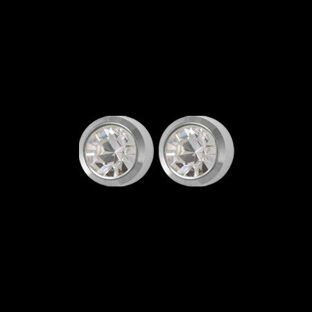 STUDEX STAINLESS STEEL MINI GP APRIL BIRTHSTONE EARRINGS