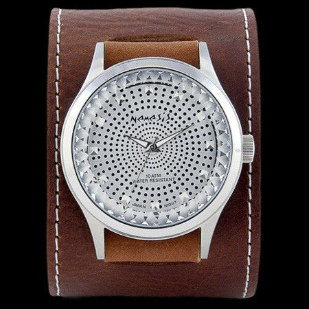 NEMESIS SILVER POINTIUM DIAMOND CUT LEATHER WATCH