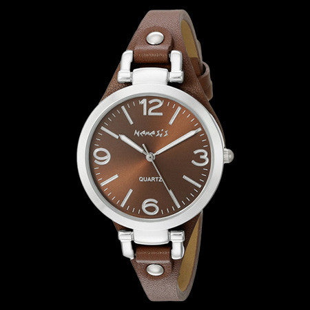 NEMESIS LADIES ELEGANCE BROWN LEATHER WATCH