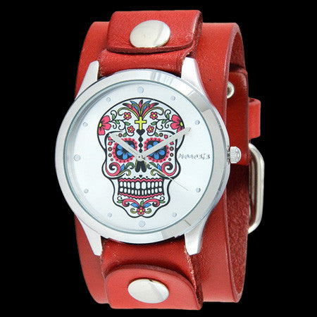 NEMESIS SILVER SUGAR SKULL RED LEATHER WATCH
