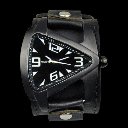 NEMESIS ARROW VORTEX BLACK LEATHER WATCH