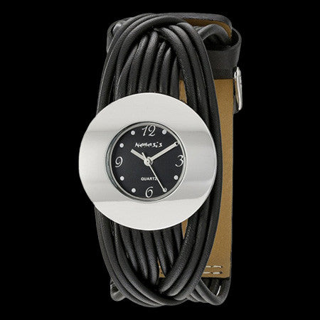 NEMESIS LADIES SILVER BLACK LEATHER STRAND WATCH