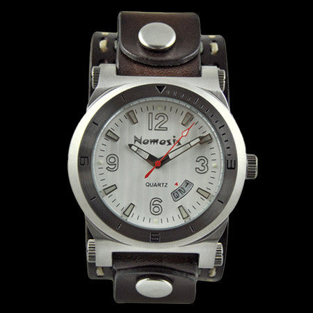 NEMESIS WHITE DIAL DATETRACKER BROWN LEATHER WATCH